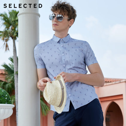 SELECTED Men's Summer 100% Cotton Stylish Printing Short-sleeved Shirts S|419204521