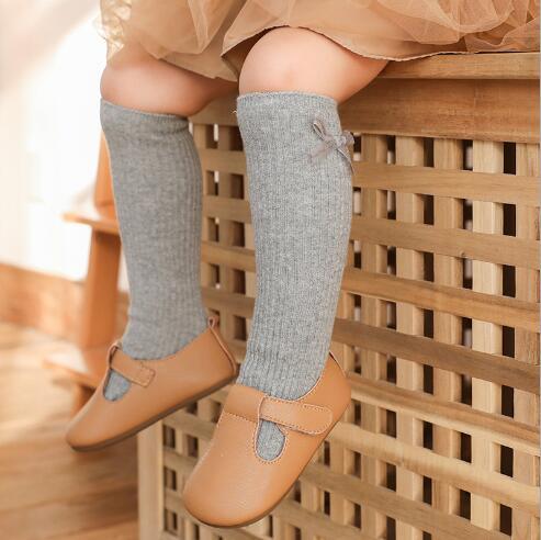 1-8Y 2021 New children's socks double needle bowknot girls socks boneless loose mouth combed cotton baby tube socks 4