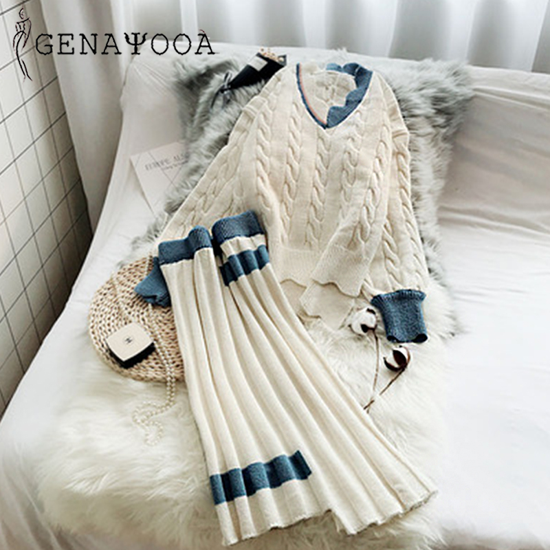 Genayooa Sweater Suit 2019 V Neck Two Piece Set Top And Skirt 2 Piece Set Women Set Outfits Suit Autumn Winter Thick Women Sets