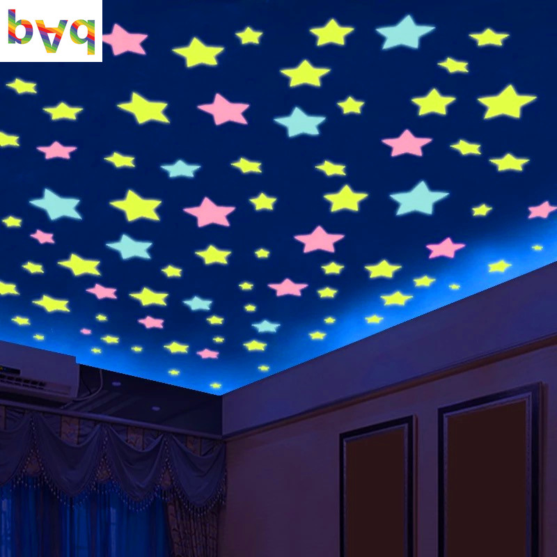 100pcs bag 3cm Glow In Dark Toys Luminous Star Stickers Bedroom Sofa Fluorescent Painting Toy PVC Stickers for Kids Room in Wall Stickers from Home Garden