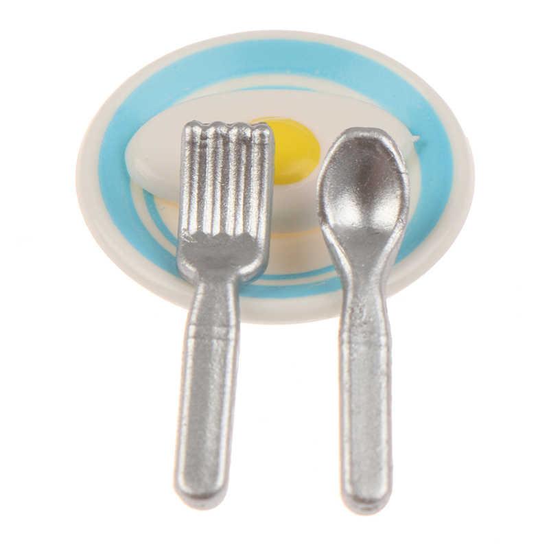 1Set 1/12 Schaal Miniatuur Poppenhuis Melk & Ei Ontbijt Set Voor Mini Pop Voedsel Spelen Kinderen Keuken Set Accessoires speelgoed