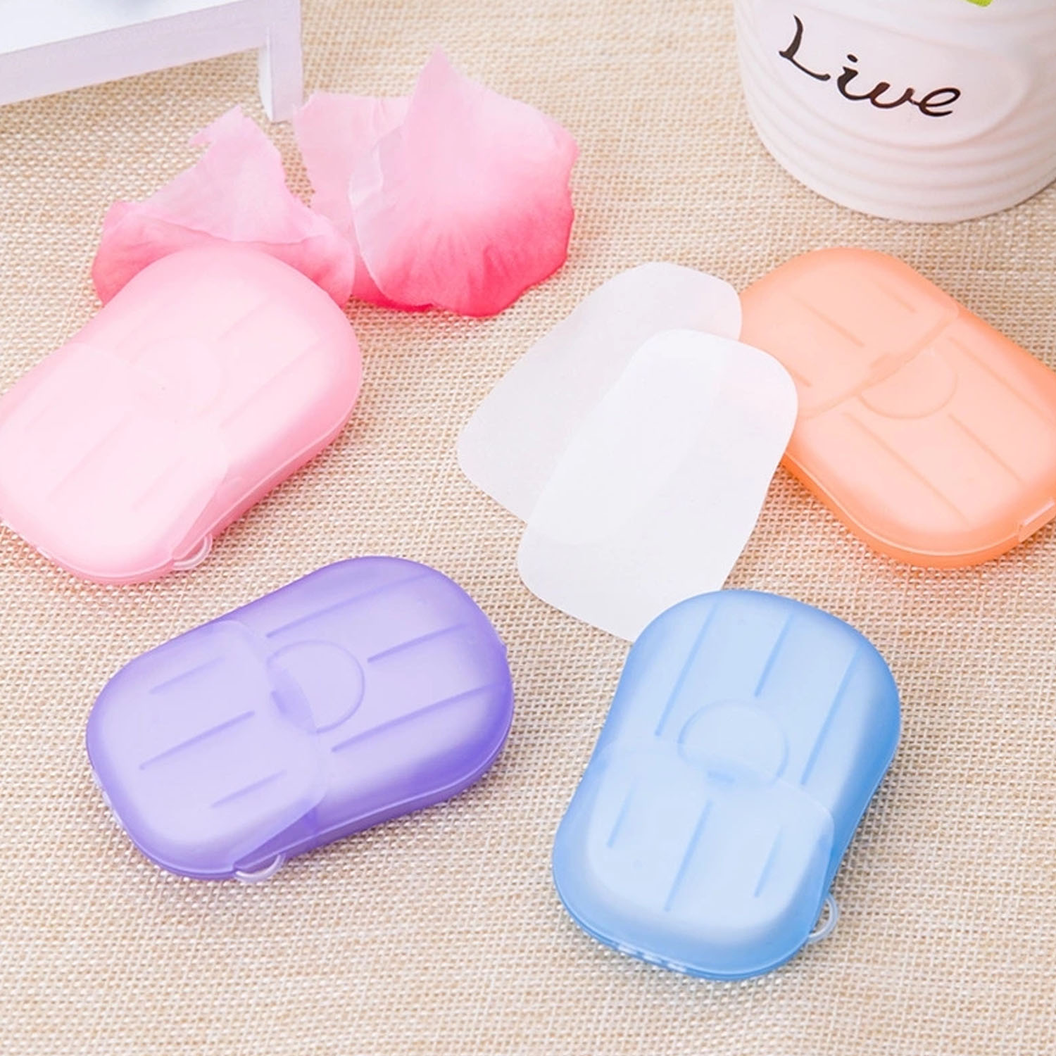 80PCS Portable Disposable Paper Soaps Sheets With Storage Box For Travel Camping Business Trip Outdoor Hand Washing Random Color