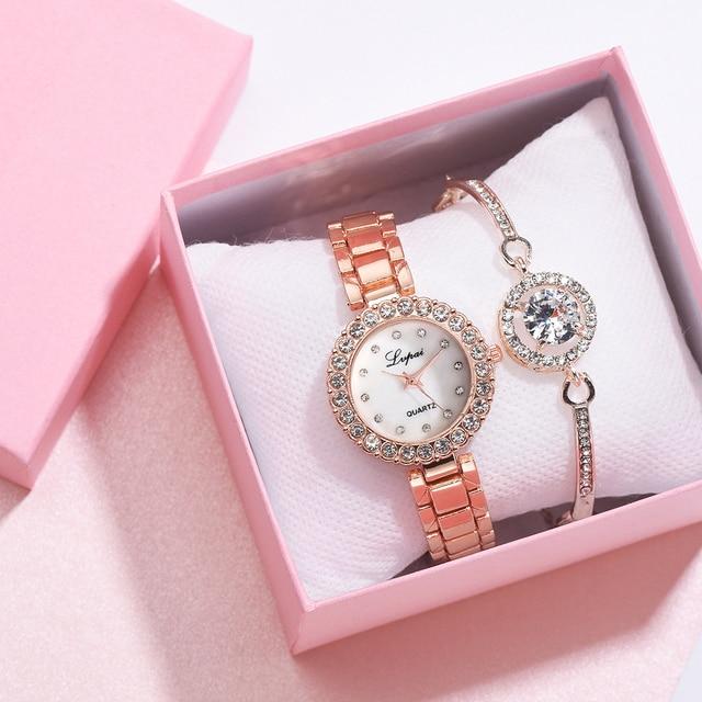 Luxury Bracelet Watches Set For Women Fashion Geometric Bangle Quartz Clock Ladies Wrist Watch Zegarek Damski 1
