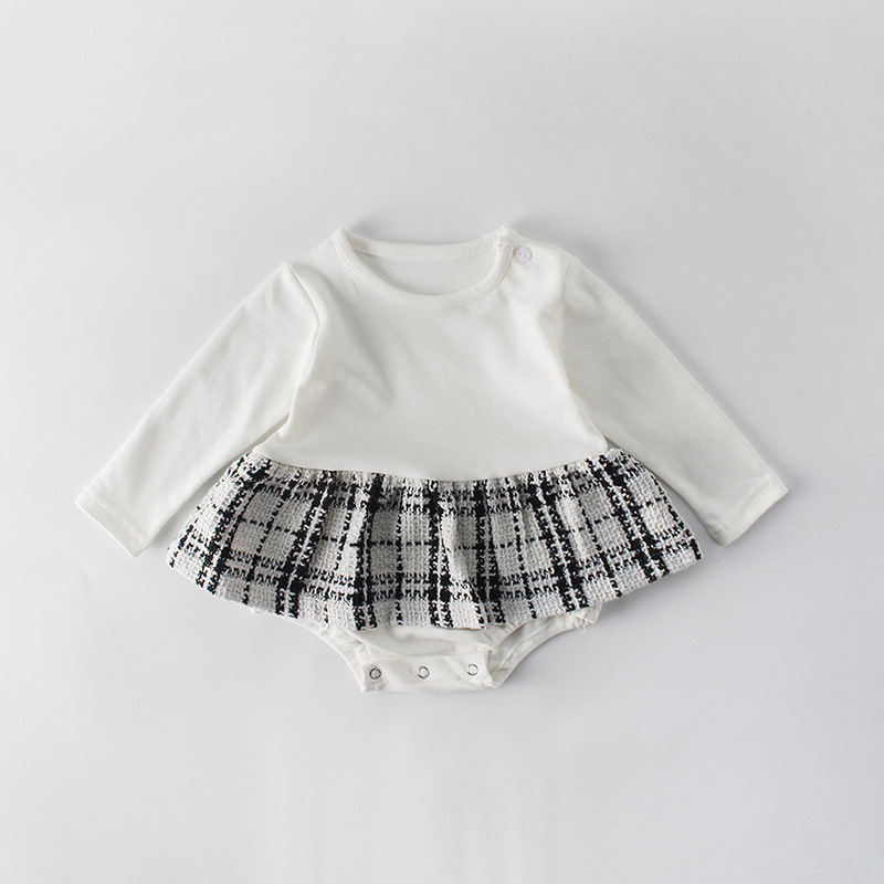 Heae2ddc005984d1a8c3a68eaf7e39810K Fashion Baby Rompers for Girls Plaid Infant Jumpsuit Baby Girl Romper with Coat Baby Onesie Toddler Clothes Baby Costume