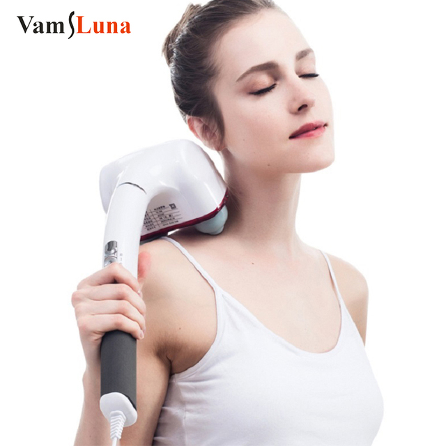 Dual Node Percussion Double Head Electric Action Handheld Massager for Deep Tissue Muscle Kneading Glow Healthy Vitality