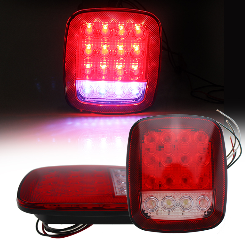 2x Truck Trailer Stud Mount Stop Turn Tail back up Light 16 LED Red//white Sealed