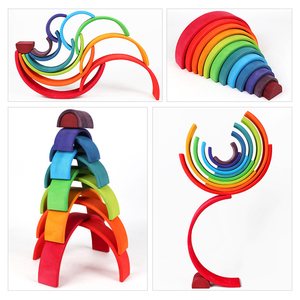 Image 3 - Baby Large Rainbow Stacker Wooden Toys For Kids Creative Rainbow Building Blocks Montessori Educational Toy Children