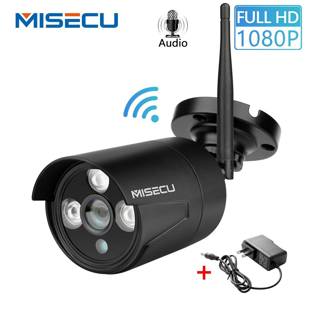 MISECU 1080P Casa de Segurança Wi-fi IP Câmera Ao Ar Livre Sem Fio de Áudio Com Slot Para Cartão SD Onvif MiscroSD P2P Push E-mail visão noturna