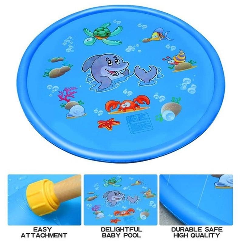 100/150/170cm Children Water Play Mat Kids Outdoor Splash Mat For Kids Pool Games Toy Sprinkle Splash Water Toy