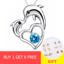 Real 100% 925 Sterling Silver Love Dolphins Pendant Necklace With CZ Women Fashion Jewelry Mothers Day Gift free shipping