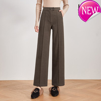 Wide Fashion Wool Leg Pants Women High Waist Straight Casual Brown Long Pants Warm Thicken Winter Trousers Plus Size Street Wear