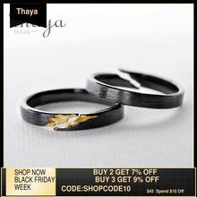 Thaya S925 en argent Sterling or fissure anneau ancien noir bois Grain femelle à la main empilable pour les femmes fête bijoux de mode