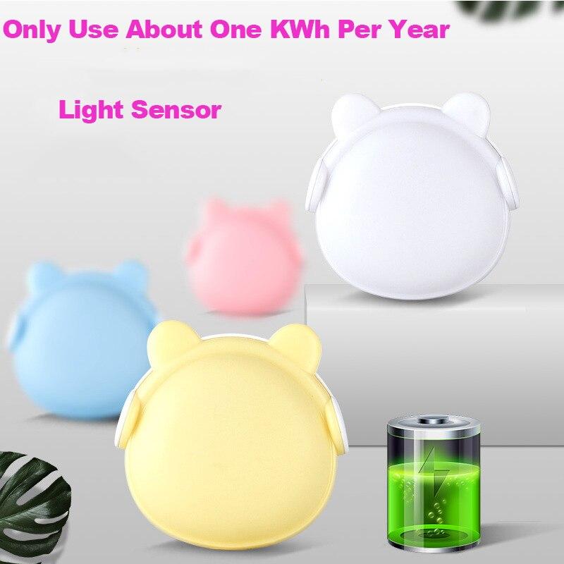 Smart Light Control LED Night Lamp Remote Control Baby Night Light US EU Plug Carton Bear LED Bulb Wall Lamp Kids Stairs Toilet