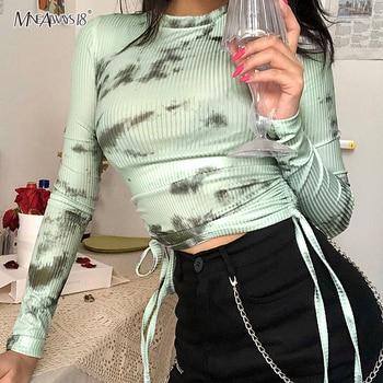Mnealways18 Tie Dye Camiseta de manga larga de mujer Sexy Camiseta de algodón Bodycon Top corto de estilo informal O cuello cordón Pullover 2020