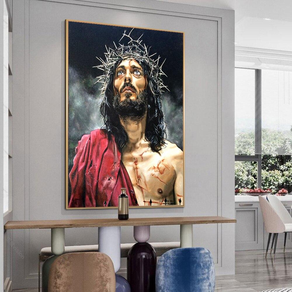 Купить абстрактный портрет иисуса настенная картина на холсте для гостиной