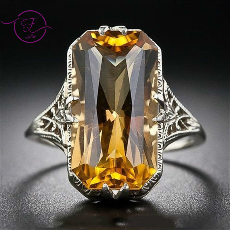 Citrine Hollowed-out Carved 925 Silver Rings Exaggerated Silver Hand Jewelry For Women Engagement Wedding Ring