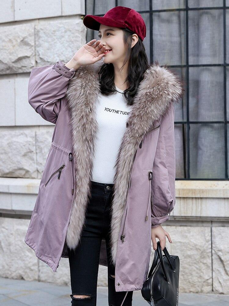 Fur Real 2020 Coat Female Natural Rabbit Fur Liner Parka Winter Jacket Women Raccoon Fur Collar Warm Long Jackets MY3998 S
