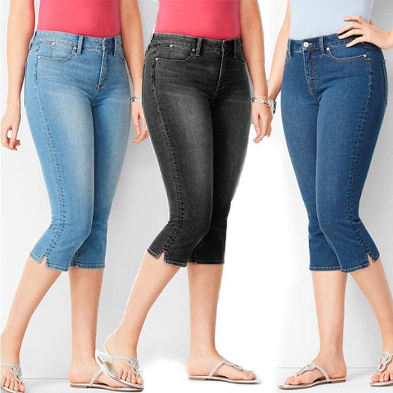 4XL Plus Size Clothing Capri Jeans Woman Breeches Summer Denim Shorts 3/4 Calf-Length Pencil Pants Femme Casual Black Blue
