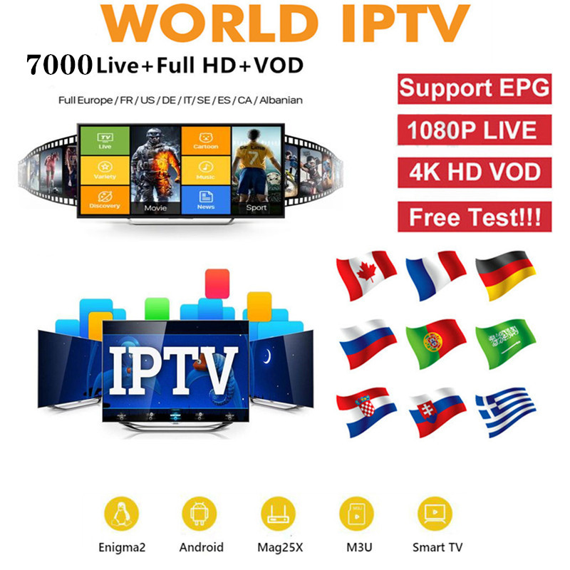 World IPTV 7000 Live 6000 VODIPTV Smarters IPTV IPTV USA Europe French Spain UK Subscription With TV For M3u Android Enigma2 Tv