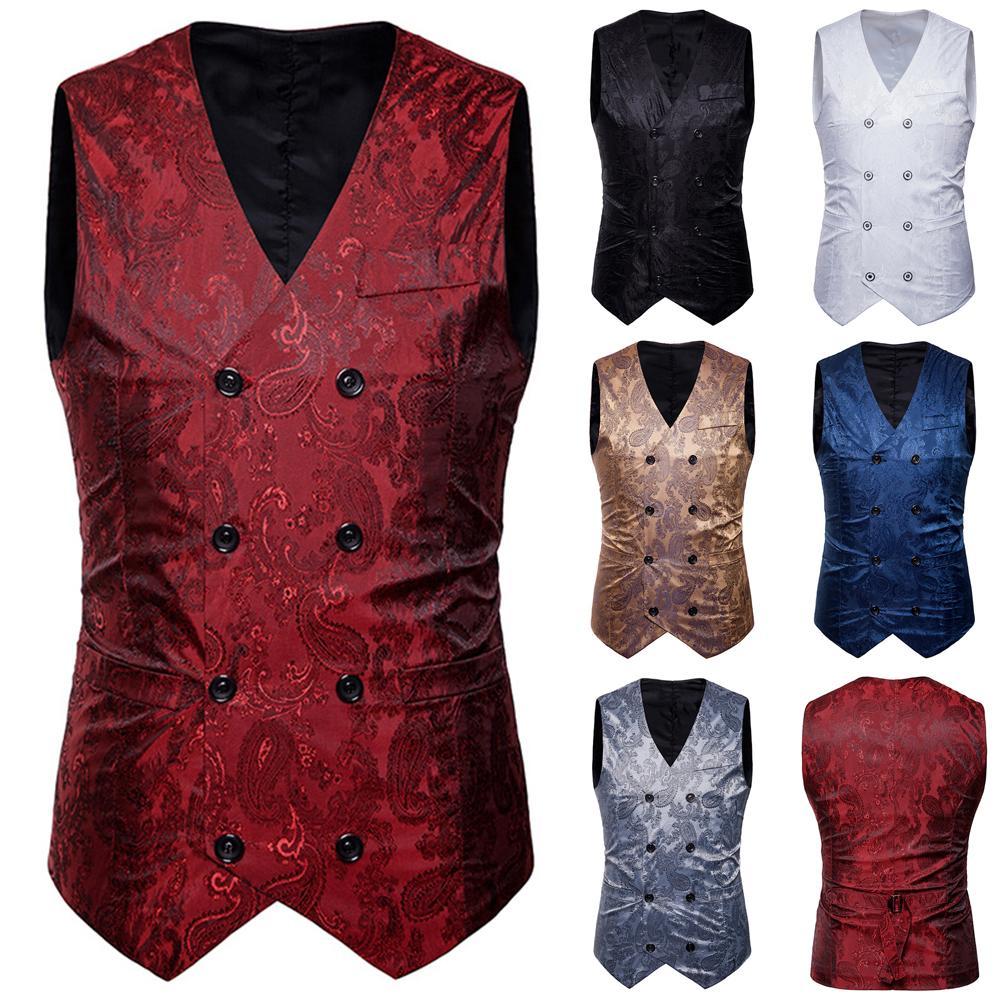 Vintage Men Floral Printed S-lim Fit Waistcoat Wedding Party Suit Vest Jacket Men's Business Casual Slims Vests Fashion Men Soli