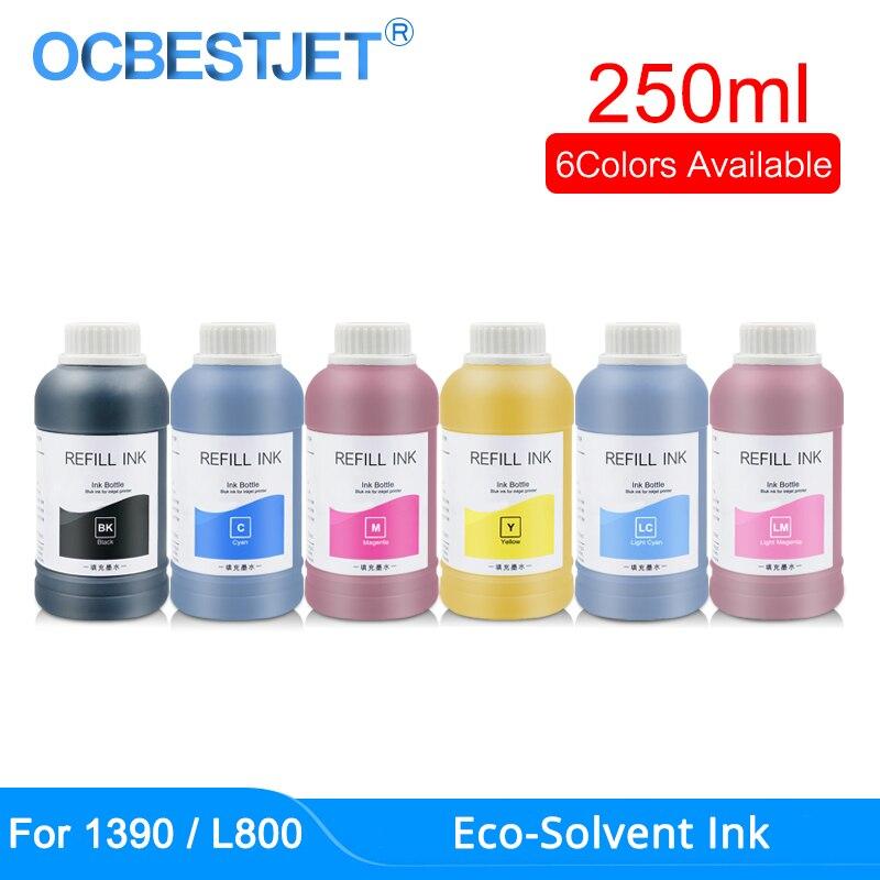 250 мл/бутылка, эко-растворимые чернила для Epson DX5, DX6, DX7, DX10, печатающая головка 4800, 4880, R2000, TX800, 1390, 1500 Вт, L800, L1800, эко-растворимые чернила