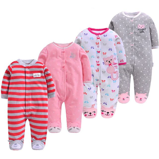 Baby Body Cat Romper Baby Boys Girls Printed Autumn Winter Romper Long Sleeved One-Piece Pajamas