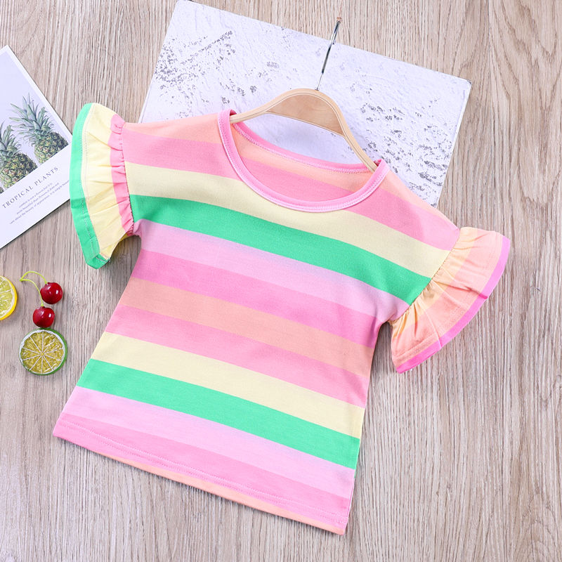 VIDMID Summer Fashion  T-shirt Children Girls Short Sleeves  Tees Baby Kids Cotton Tops For Girls Clothes   1-8Y  P1055 2