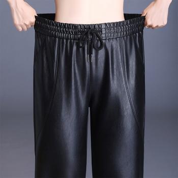 Autumn Elastic Waist Faux Leather Pants Black High Quality Pu String Pockets Anti-virus Anti-Water Pencil Woman