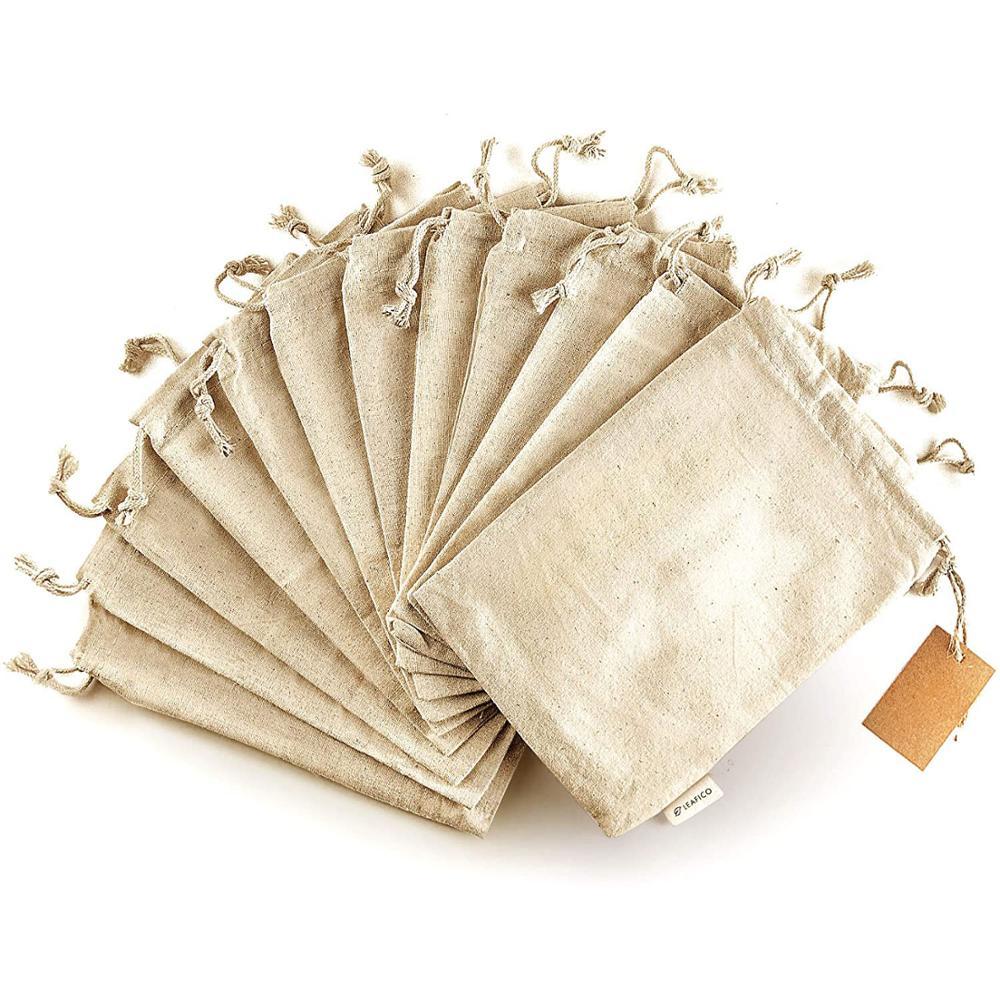 10 шт./лот, джутовый мешок с ручками из хлопка и льна Подарочный мешок на шнурке в декорированном мешковиной горшке упаковка мешки для хранен...