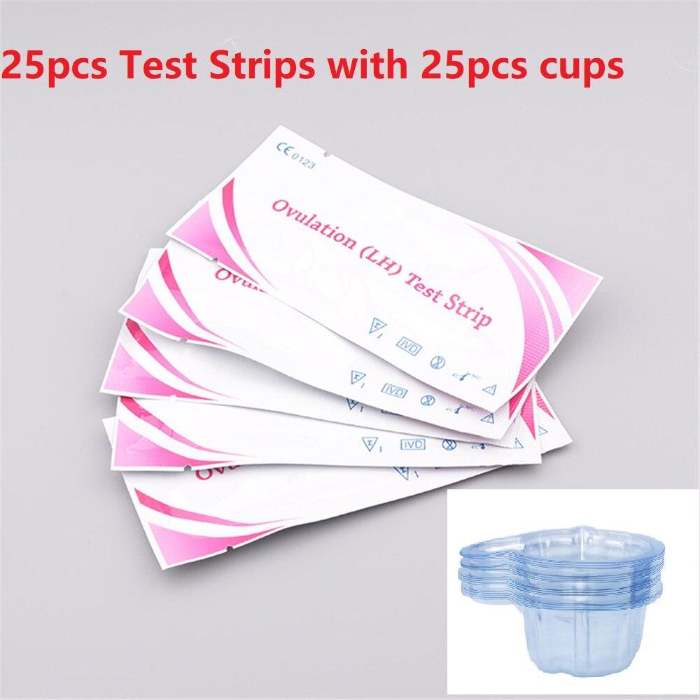 25 Pcs Lh Ovulatietest Strips Met 25 Stuks Urine Test Container Voor Vruchtbaarheid Test Urine Midstream Test Strips Kits met Cup