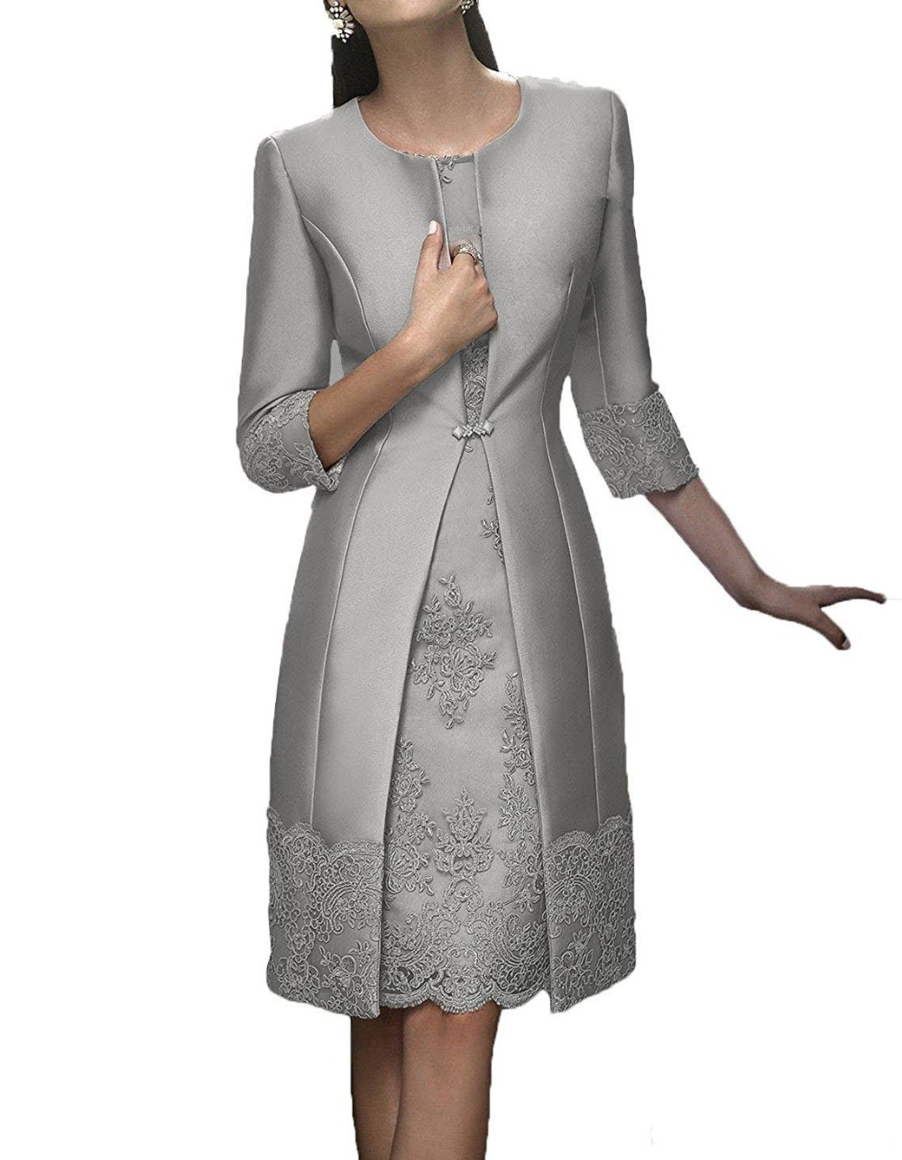 Elegant Sheath Short Mother Formal Wear Jacket Evening Satin Lace Party Wedding Guest Dress 2020 Mother Of The Bride Dresses