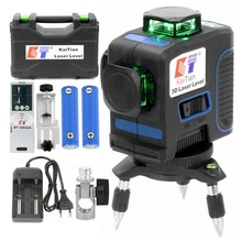 Kaitian 360 Laser Level 532nm Self Leveling Vertical Horizontal Super Powerful Nivel Lasers Receiver Green 12 Lines Lazer Levels