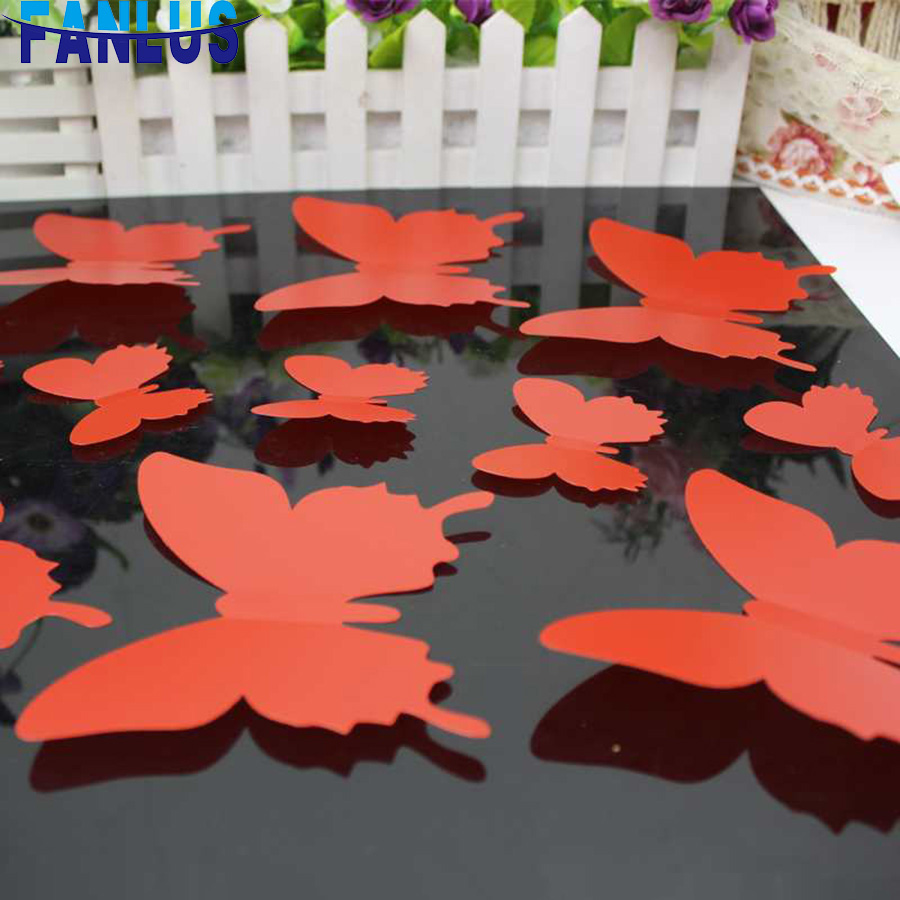 12pcs/set Butterfly Wall Stickers DIY Home Decor Black Butterfly Living Room Decoration Wall Sticker Creative Bedroom Decoration