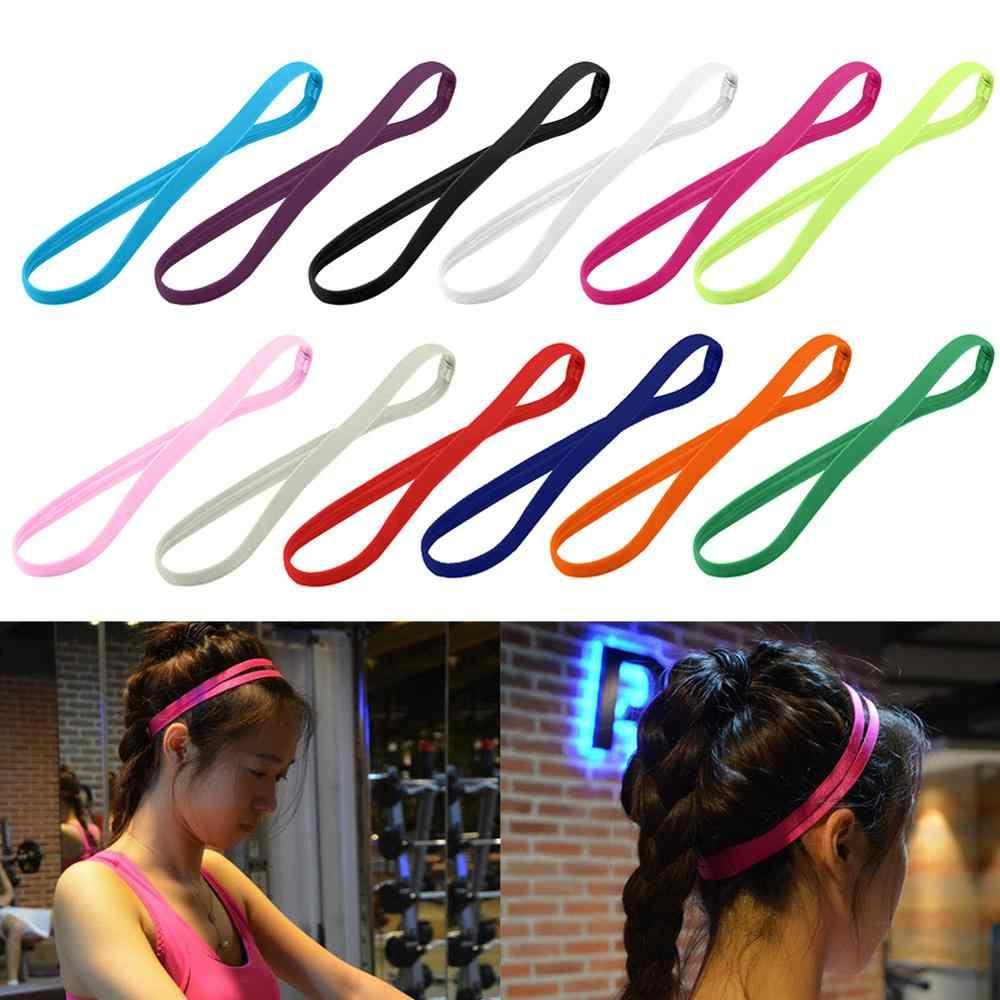 1 adet şeker renk kadın erkek Yoga saç bantları spor kafa bandı kız spor kaymaz elastik kauçuk ter bandı futbol koşu