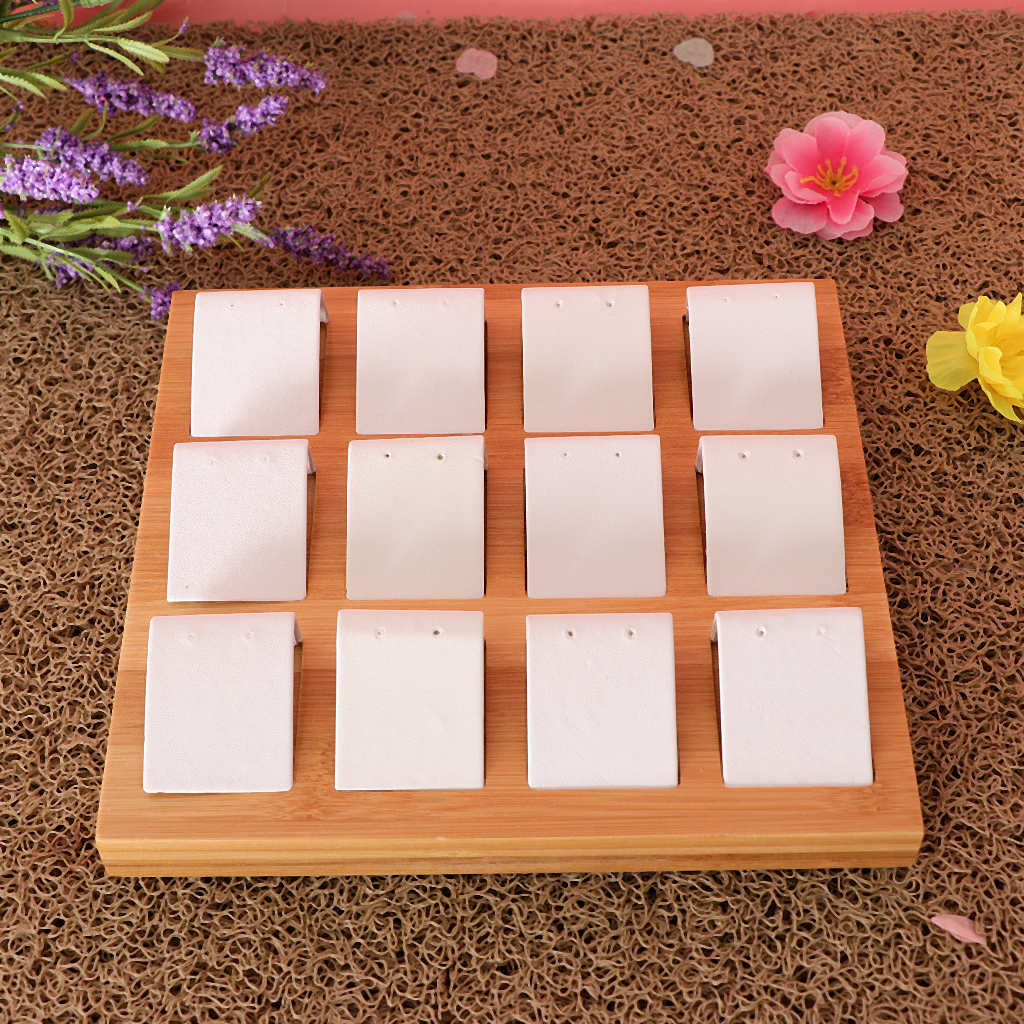 Earrings Display Cards Organizer Bamboo Jewelry Stand Holder Tray Case 20.5x19x2cm