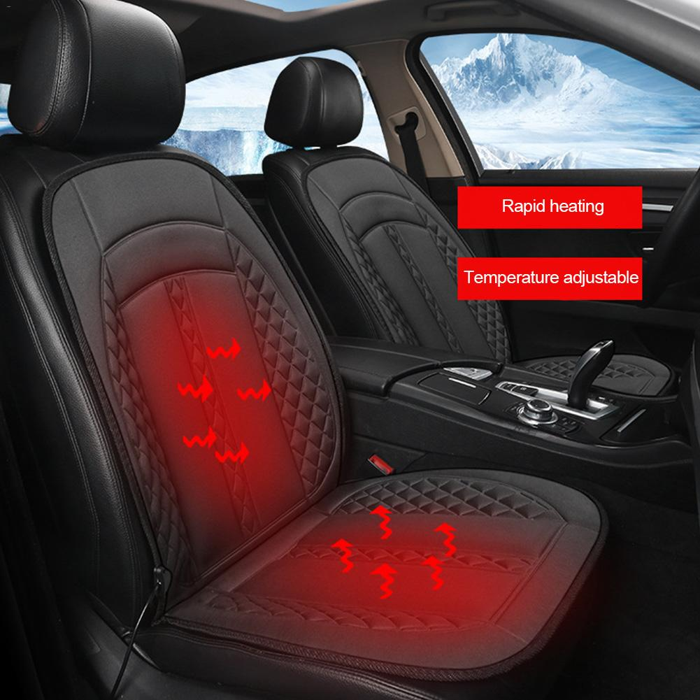 12V Heated Car Seat Covers Cushion Universal Seat Heater for Winter Heating Thermal Seatpad Non-Slip Knitting Fiber Mat Gray
