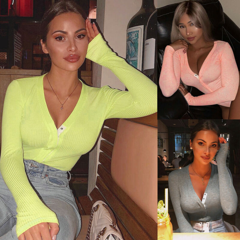 2020 Sexy Solid Color Women Bodysuits V Neck Long Sleeve Knitted Bodysuit Romper Jumpsuit Leotard Tops