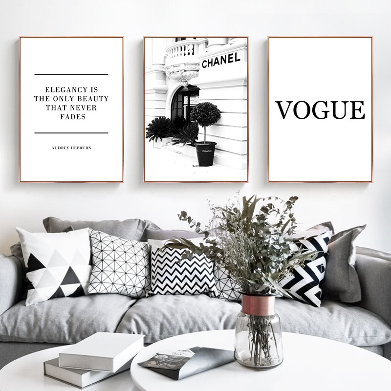 Mode Blume Frau Poster und Drucken Coco Zitate Wand Kunst Leinwand Malerei Schwarz Weiß Vogue Bilder für Wohnzimmer Hause decor