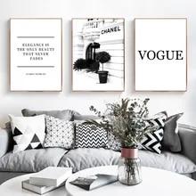 Moda flor mulher poster e impressão coco citações arte da parede pintura em tela preto branco vogue fotos para sala de estar decoração casa