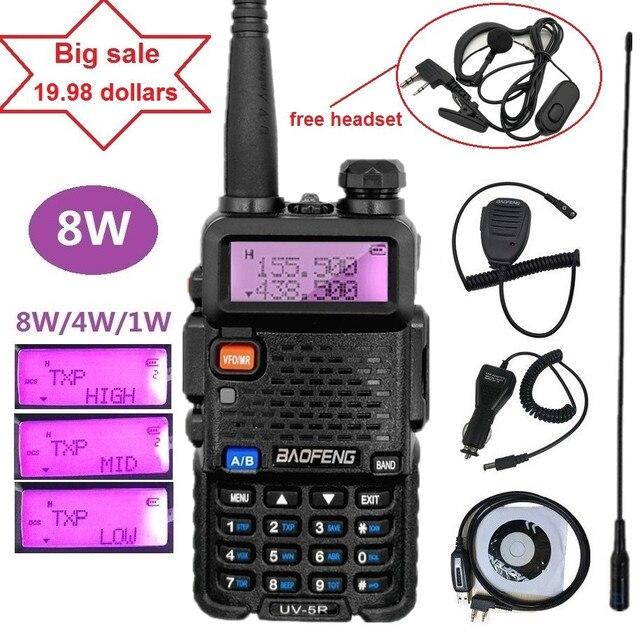8 W Baofeng UV-5R High Power Walkie Talkie Ham Radio Amateur 8 Watt 10km Dual Band CB Radio Transceiver UV5R Jagd Mp3-player-modulator