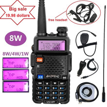 Real 8W Baofeng UV-5R Ham CB Scanner Radio Amateur Walkie Talkie 10km Long Range VHF UHF Radio Transceiver UV5R 8W Transmitter