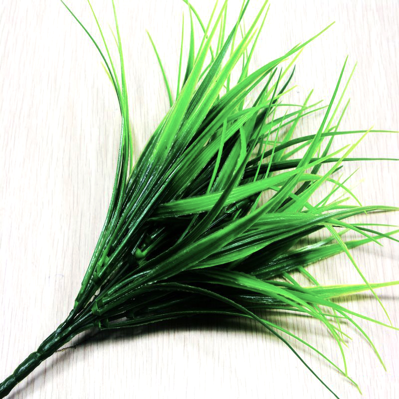1PCS Artificial Fake Plastic 7-Fork Green Grass Plant Flowers For Home Office DIY Gift Wedding Festival Decoration Garden Decor