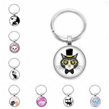 2019 New Yin and Yang Cat Key Ring Cartoon Anime Pet Cat Key Chain 25mm Glass Convex Round Key Ring Children Gift Jewelry 2019 new creative cartoon yin and yang black and white cat necklace gift glass convex round pendant necklace fashion jewelry