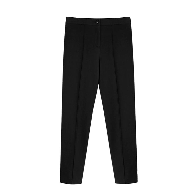 Aachoae Women Solid Elegant Pants Leggings Pleated Side Leg Split Pencil Pants Lady Zipper Fly Casual Skinny Trousers Pantalon 7