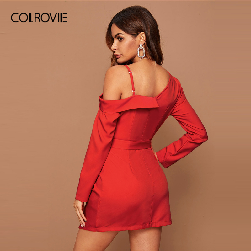 COLROVIE Bright Red Asymmetrical Neck Belted Wrap Dress Women Solid Long Sleeve Mini Dress 2020 Spring Sexy High Waist Dresses 1