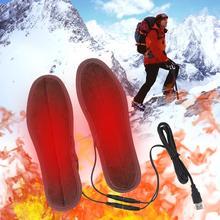 1 пара USB с подогревом стельки ноги утеплитель носок подушка мягкий ворс электрический с подогревом обувь стельки зима спорт ноги утепление стельки
