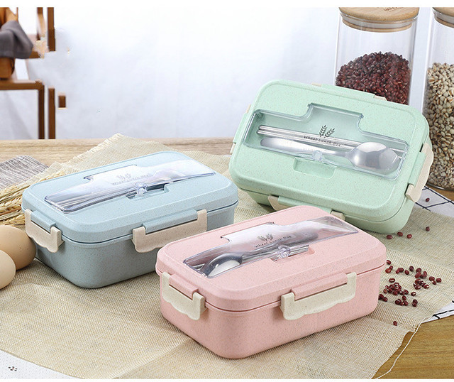 Microwave Lunch Box Wheat Straw Dinnerware Food Storage Container Children Kids School Office Portable Bento Box Lunch Bag 1