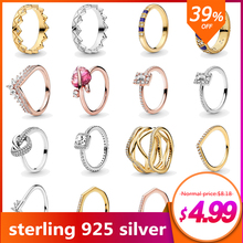 New Original Silver 925 Jewelry Rings For Women Pearl Open Ring Sparkling Square Halo Ring Fashion Jewelry Ringen