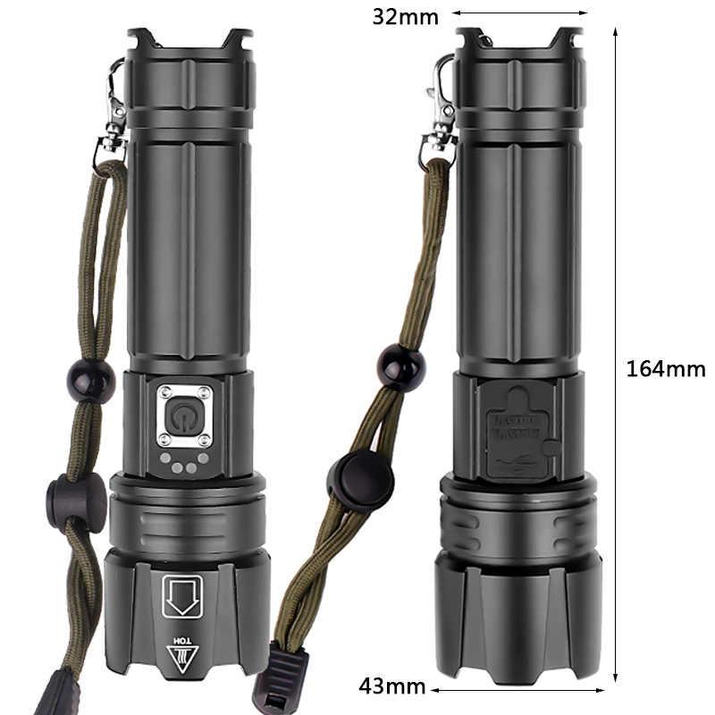 Led lanterna tocha power bank 18650 ou 26650 bateria recarregável lâmpadas resistente a choques, luz dura, auto defesa