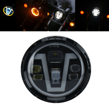 7'' 50W led car Motorcycle Headlight H4 Phare Farol Moto Headlamp DRL Turn light for Harley Honda Softail Cafe Racer Chopper BMW